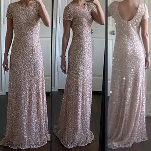 Adrianna Papell pink silver sequin formal dress